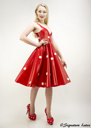 1950's Latex dress with polka dots